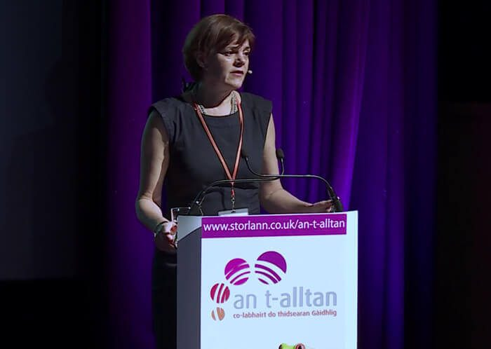An t-Alltan Conference for Gaelic Teachers - Shona MacLennan opening the conference